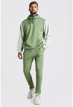 Oversized Colour Block Tracksuit with MAN Rib, Khaki
