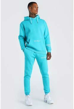 Blue MAN Official Rib Detail Hooded Tracksuit