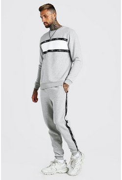 Grey marl MAN Signature Tape Colour Block Tracksuit