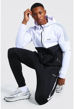 Black MAN Muscle Fit Colour Block Zip Hooded Tracksuit