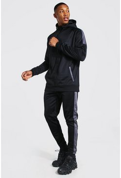 Black MAN Signature Muscle Fit Panelled Tracksuit