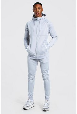 Grey MAN Signature Muscle Fit Panelled Tracksuit