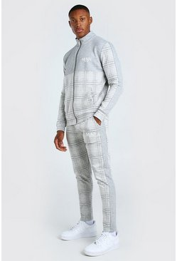 Light grey MAN Jacquard Colour Block Tracksuit