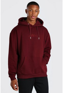 Burgundy MAN Signature Embroidered Hoodie