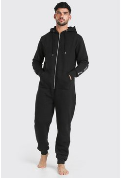 MAN Dash Tape Hooded Onesie, Black