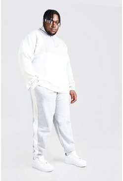 Grey marl Plus Size Colour Block Funnel Tracksuit