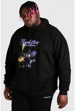 Black Plus Size Purple Rain License Hoodie