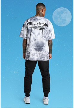 Grey Official MAN Oversized Tie Dye Back Print T-Shirt