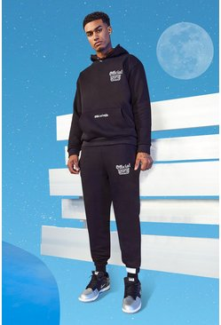 Black Tall Official MAN Slim Hooded Tracksuit