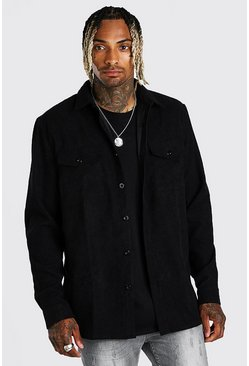 Black Long Sleeve Two Pocket Corduroy Shirt Jacket