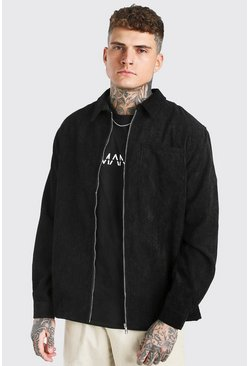 Black Long Sleeve Zip Through Corduroy Shirt Jacket
