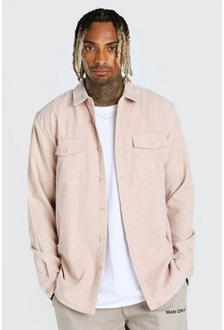 Stone Long Sleeve Two Pocket Corduroy Overshirt