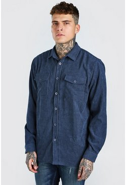 Navy Long Sleeve Two Pocket Corduroy Overshirt
