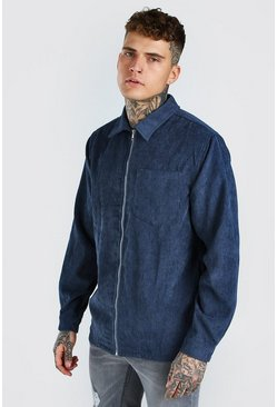Navy Long Sleeve Zip Through Corduroy Shirt Jacket
