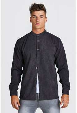 Charcoal Long Sleeve Grandad Collar Corduroy Shirt