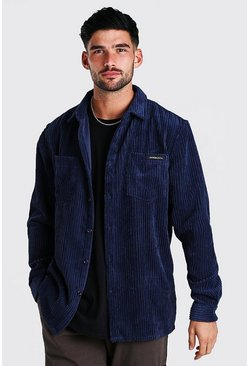 Navy Long Sleeve Jumbo Cord Overshirt