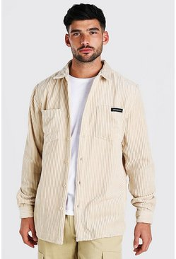 Stone MAN Jumbo Cord Overshirt With Woven Tab