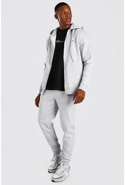 Grey MAN Signature Zip Through Hooded Tracksuit