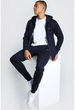 Navy MAN Signature Zip Through Hooded Tracksuit
