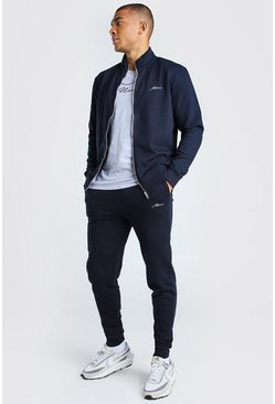 Navy MAN Signature Funnel Neck Tracksuit