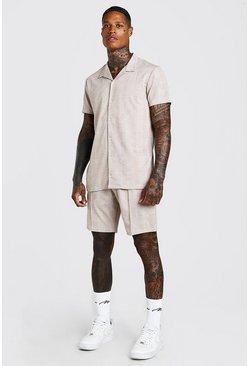 Tan Short Sleeve Revere Shirt And Pin Tuck Short Set
