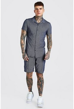 Navy Short Sleeve Revere Shirt And Pin Tuck Short Set