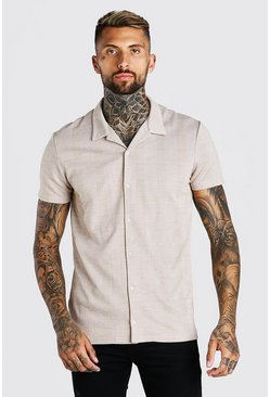 Tan Short Sleeve Revere Collar Textured Jacquard Shirt