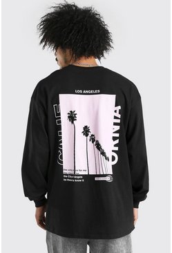 Black Oversized Palm Back Print Long Sleeve T-Shirt