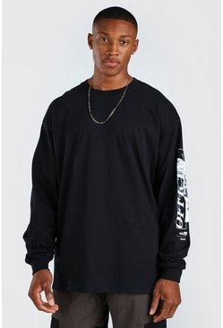 Black Oversized Official Sleeve Print Long Sleeve T-Shirt