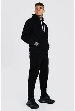 Black MAN Official Split Hem Hooded Tracksuit