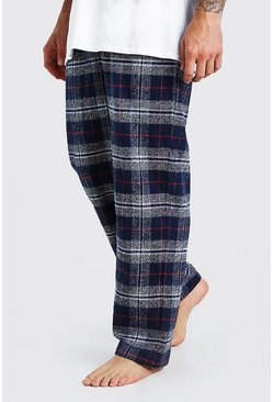 Navy Woven Check Pajama Bottoms