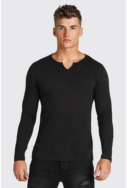 Black Notch Neck Long Sleeve T-Shirt