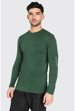 Khaki Muscle Fit MA1 Long Sleeve T-Shirt