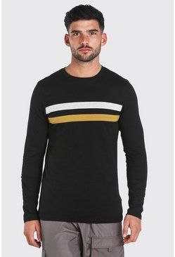 Black Muscle Fit Chest Panel Long Sleeve T-Shirt