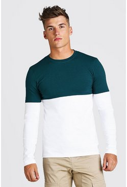 Teal Muscle Fit Colour Block Long Sleeve T-Shirt