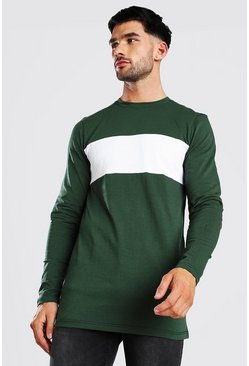 Khaki Muscle Fit Longline Panelled Long Sleeve T-Shirt