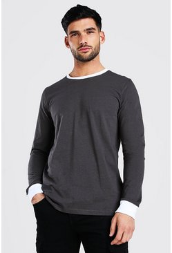Slate Long Sleeve T-Shirt With Contrast Collar