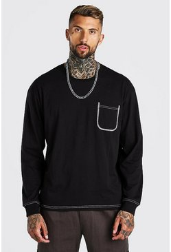 Black Oversized Long Sleeve Contrast stitch T-Shirt