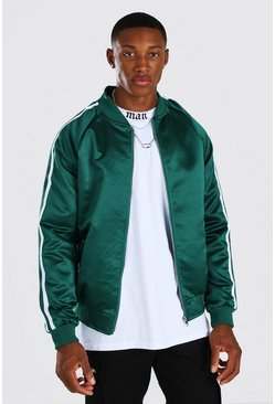 Forest Side Tape Satin Bomber