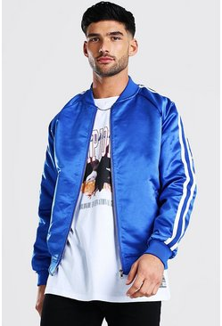 Navy Side Tape Satin Bomber