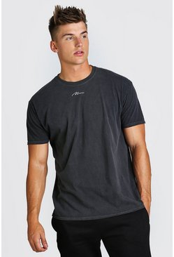 Charcoal Oversized MAN Signature Overdyed T-Shirt