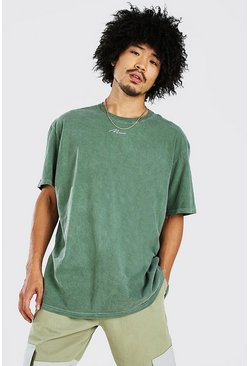 Khaki Oversized MAN Signature Overdyed T-Shirt