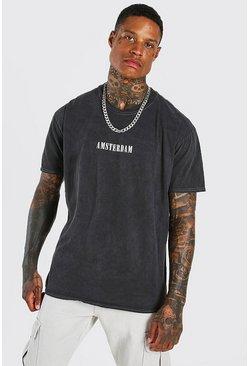 Charcoal Oversized Amsterdam Print Overdyed T-Shirt