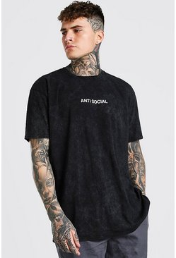 Charcoal Oversized Antisocial Slogan Enzyme Wash T-Shirt