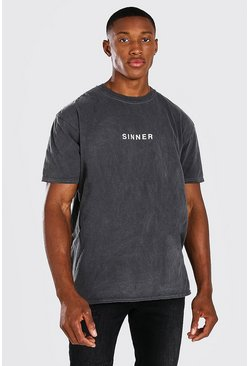 Charcoal Oversized Sinner Slogan Overdyed T-Shirt