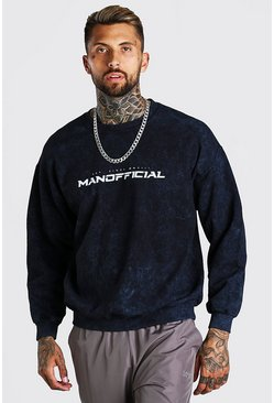 Charcoal Oversized MAN Official Enzyme Wash Sweater