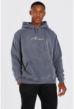 Charcoal Oversized MAN Signature Overdyed Hoodie