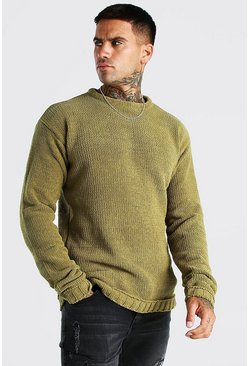 Chunky Crew Neck Knitted Jumper, Khaki
