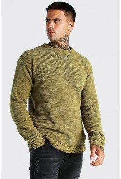 Khaki Chunky Crew Neck Knitted Jumper