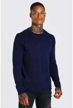 Crew Neck Knitted Jumper, Navy